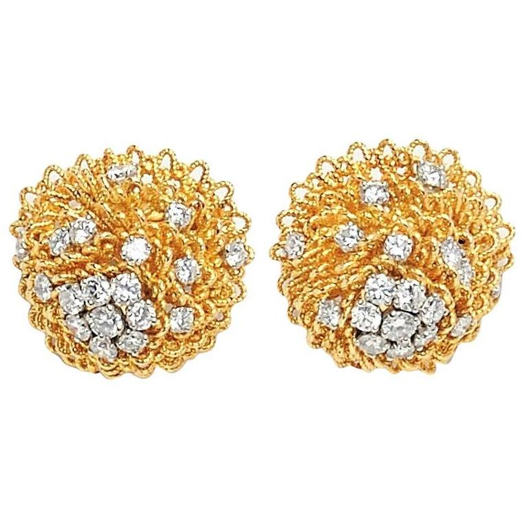1960's Van Cleef & Arpels Diamond Gold Platinum Earrings 1