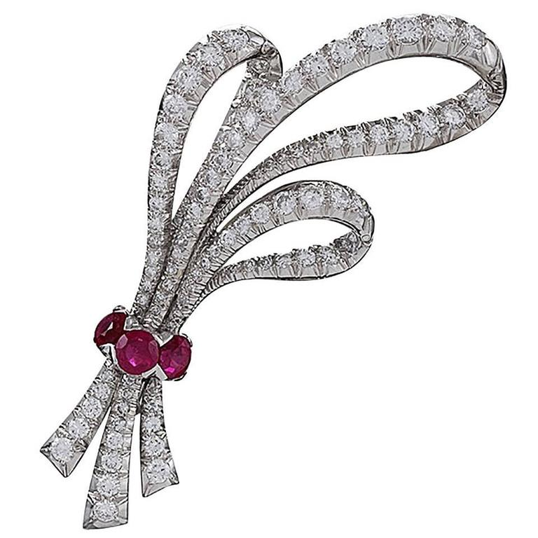 1960's Ruby Diamond Platinum Triple Bow Brooch