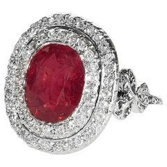 Edwardian Burmese Ruby Diamond Platinum Ring