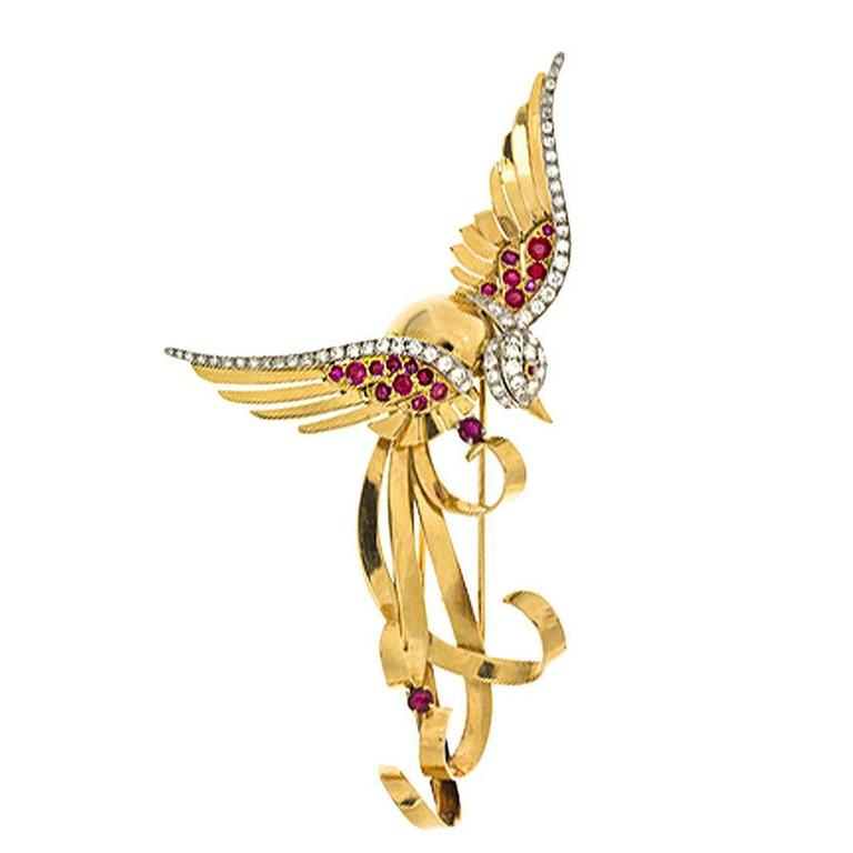 French Ruby Diamond Gold Bird Brooch 1