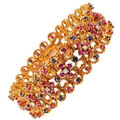 1960s Wide Ruby Sapphire Diamond Gold Bracelet