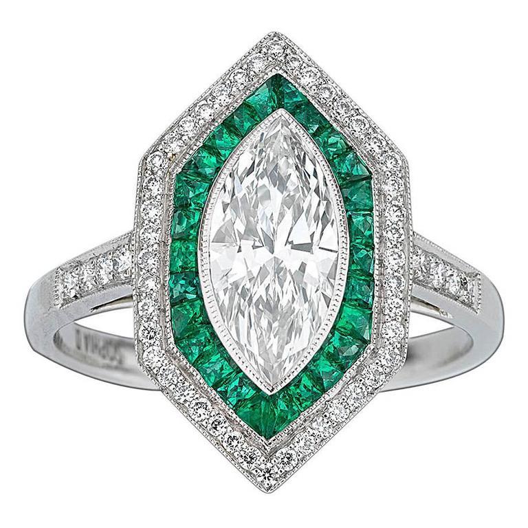 Art Deco-Style Diamond and Emerald Ring 1