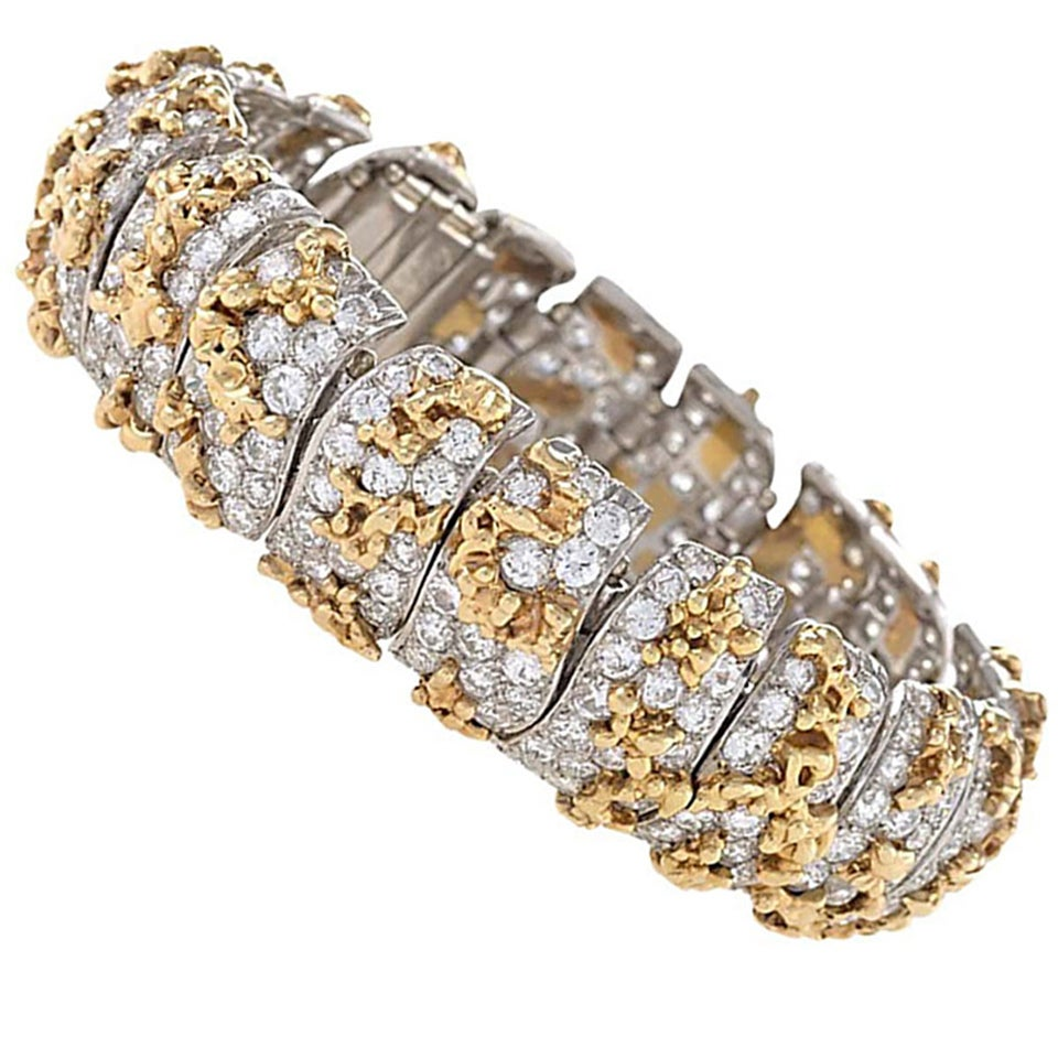 Ruser 1960s Diamond Gold Platinum Bracelet