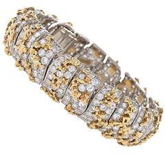 Ruser 1960's Diamond Gold Platinum Bracelet