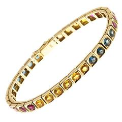 Ruby Blue Yellow Sapphire Hinged Gold Bracelet