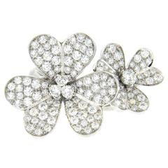 Van Cleef & Arpels Frivole Between the Fingers Diamond Gold Flower Ring