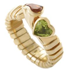 Bulgari Citrine Peridot Gold Double Heart Ring