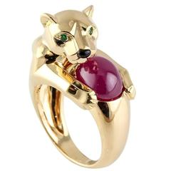 Cartier Panthere Ruby Emerald Onyx Gold Ring