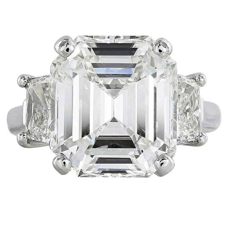 9.01 Carat Emerald Cut GIA Cert Diamond Platinum Engagement Ring For Sale