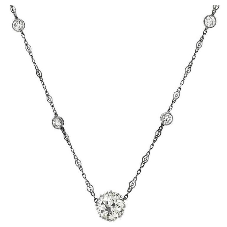 GIA Certified 4.19 Carat Diamond Single Stone Necklace & Diamond Platinum Chain 1