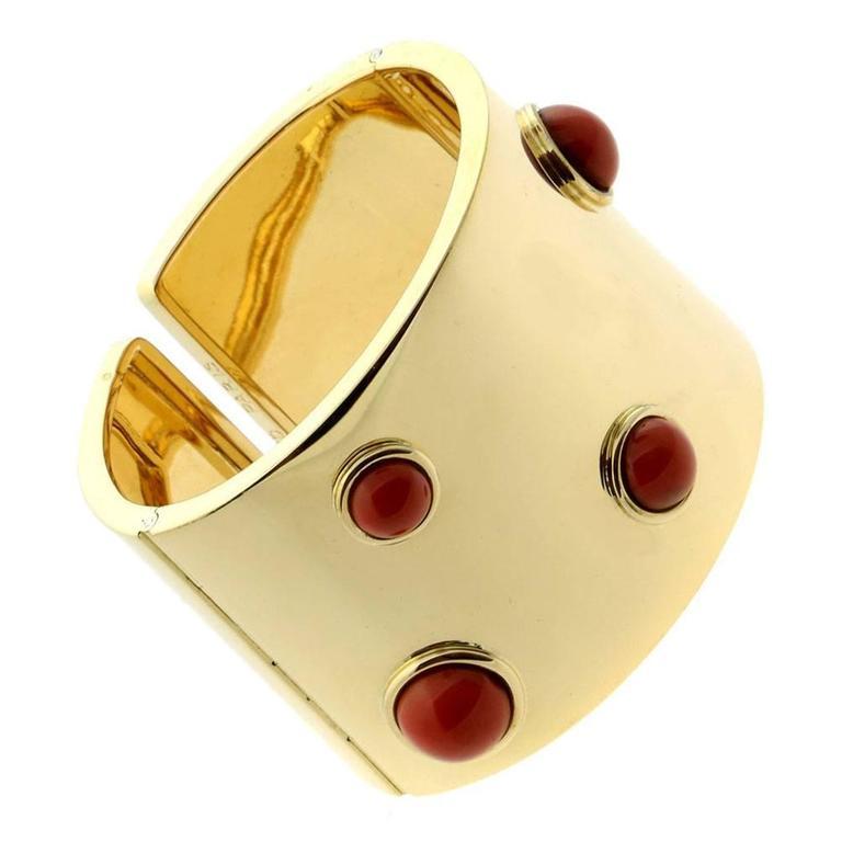 Fred of Paris Coral Gold Arm Cuff Bracelet  1