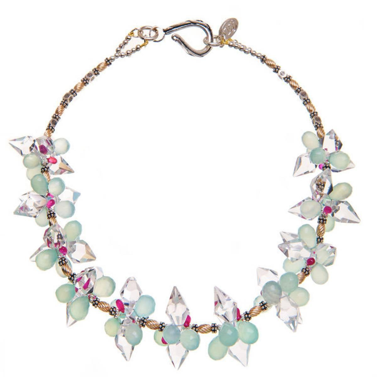 Crystal Ruby Aqua Chalcedony Silver Gold Necklace For Sale