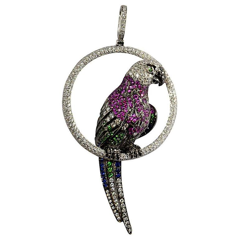Tsavorite Sapphire Diamond Gold Parrot Pendant