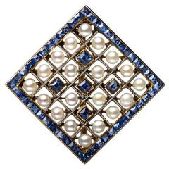 Edwardian Pearl Sapphire and Gold Miniature Brooch, circa 1905