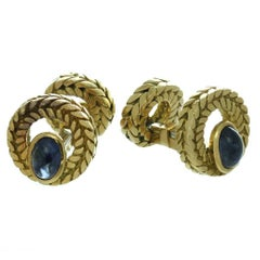 Van Cleef & Arpels Cabochon Sapphire Gold Cufflinks Great Father's Day Gift