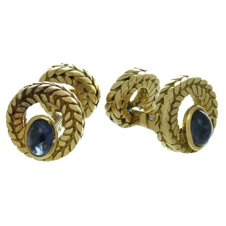 Van Cleef & Arpels Cabochon Sapphire Gold Cufflinks Great Father's Day Gift For Sale