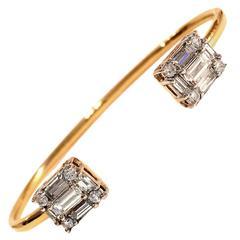 Modernist 2.16 Carat Diamond Gold Bangle Bracelet