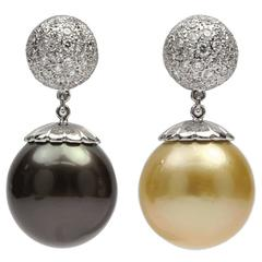 Large South Sea Golden and Tahitian Pearl Diamond Gold Statement Earrings