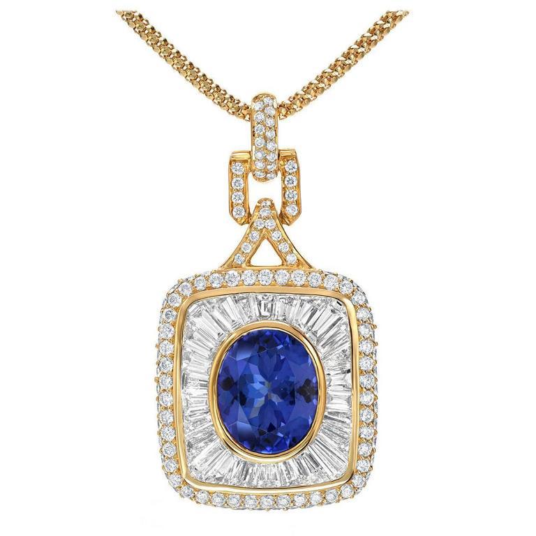 3.67 Carat Royal Blue Tanzanite Diamond Gold Pendant 1