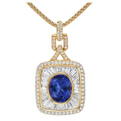 Tanzanite Pendant Necklace Diamond Yellow Gold