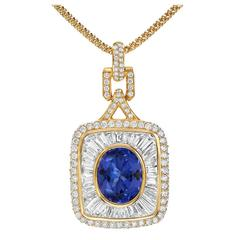 Tanzanite Diamond Gold Pendant