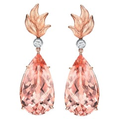 Morganite Earrings 31.63 Carats Pear Shape