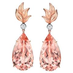 Morganite Diamond Rose Gold Drop Earrings Pear Shape 31.63 Carat