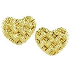 Tiffany & Co. Gold Woven Heart Earrings