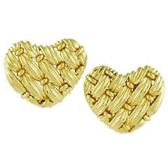 Tiffany & Co. Gold Woven Heart Earrings