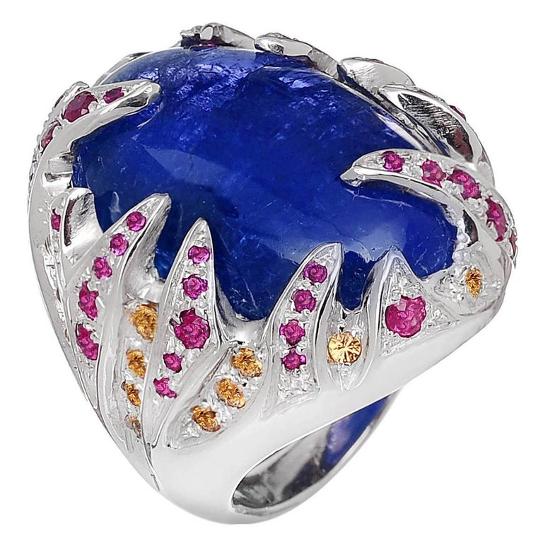 Blue Tanzanite Red Ruby Yellow Sapphire White Gold Cocktail Ring Made In Italy For Sale