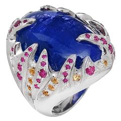 Blue Tanzanite Red Ruby Yellow Sapphire White Gold Cocktail Ring