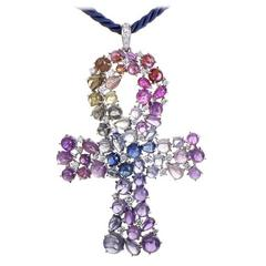 Scavia White Gold Rainbow Ankh Pendant Necklace