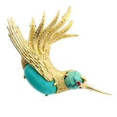 Cartier Turquoise Gold Hummingbird Brooch