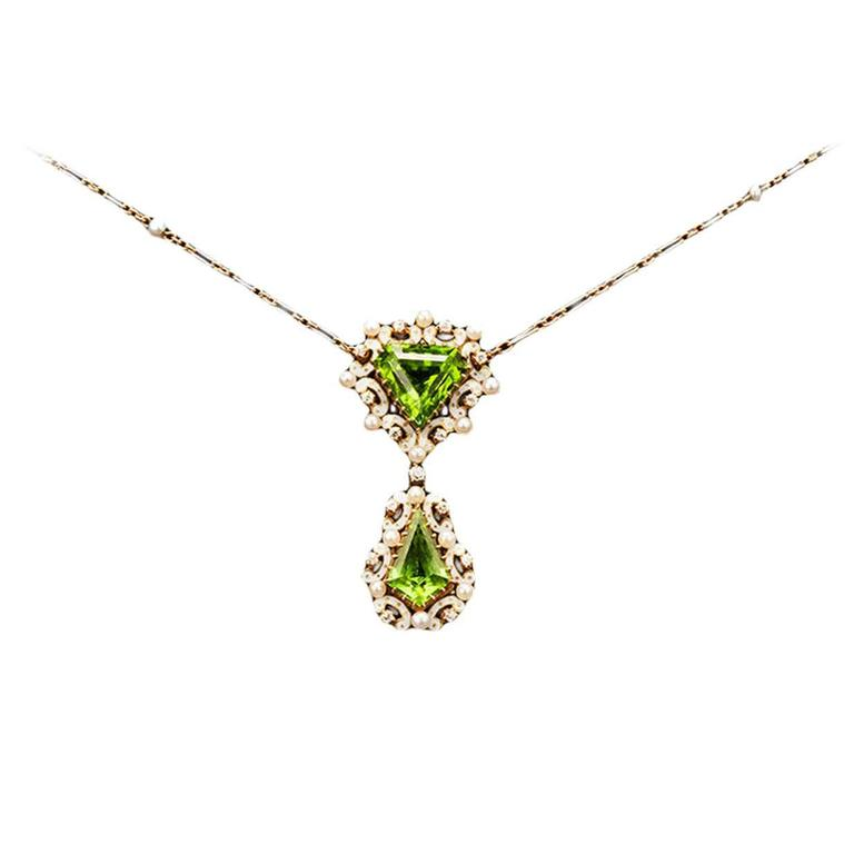 Edwardian Enamel Peridot Pearl Diamond Gold Drop Necklace