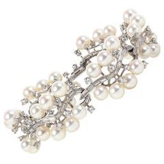 Rare Pearl Diamond Platinum Bracelet