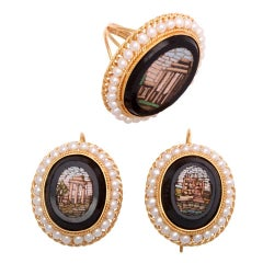 Antique Micro Mosaic Pearl Gold Ring and Earrings