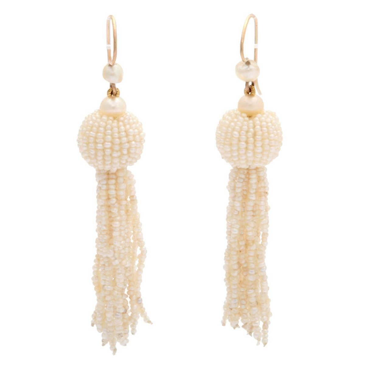 Victorian Natural Seed Pearl Fringe Earrings