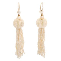 Victorian Natural Seed Pearl Fringe Earrings