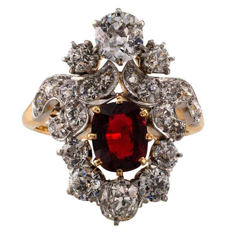 Edwardian Red Spinel Diamond Gold Platinum Ring For Sale