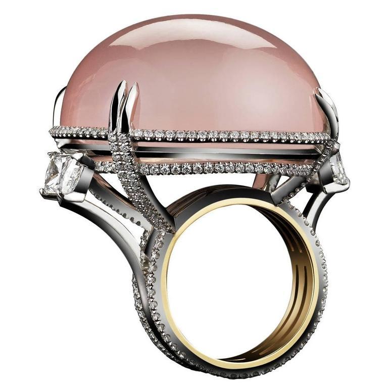 Alexandra Mor Rose Quartz Cabochon Diamond Gold Platinum Slanted Ring 1