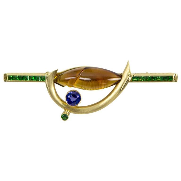Citrine Tsavorite Garnet Sapphire Somos Munsteiner Gold Brooch Pin For Sale