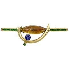 Citrine Tsavorite Garnet Sapphire Somos Munsteiner Gold Brooch Pin Estate Find