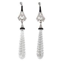Rock Crystal 1 Carat Diamond Onyx Platinum Pendant Earrings Estate Fine Jewelry