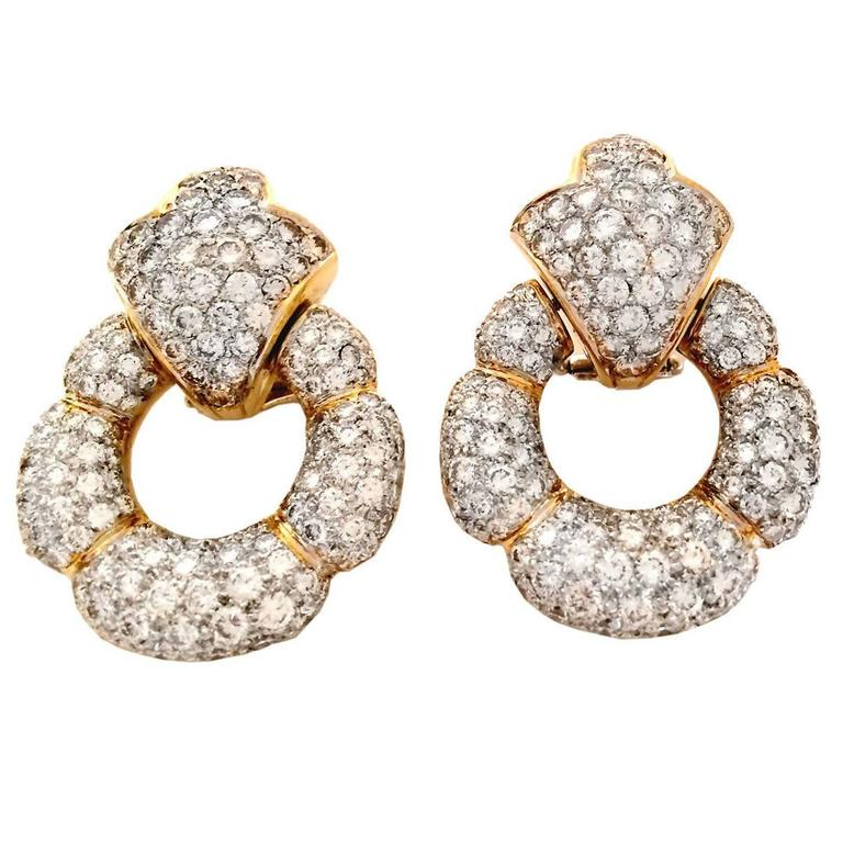 12 Carat Diamond Gold Door Knocker Earrings 2