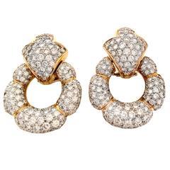 11 Carats Diamonds Gold Door Knocker Earrings
