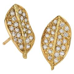 John Iversen White Diamond Gold Boxwood Stud Earrings