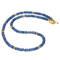Barbara Heinrich Tanzanite Gold Spacer Handmade Necklace