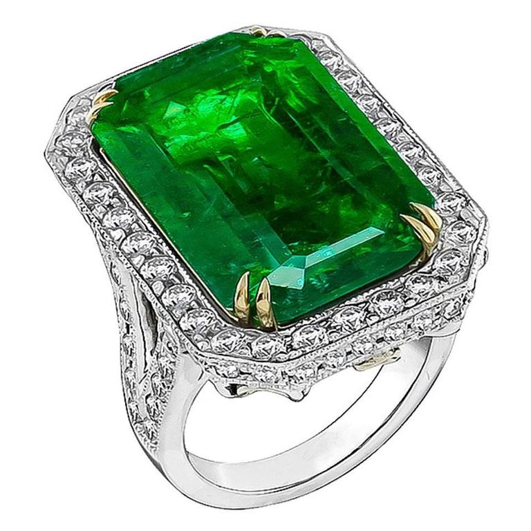 Awesome 17.75 Carat Emerald Diamond Platinum Cocktail Ring