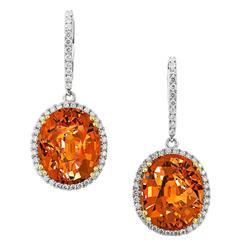 17.85 Carat Mandarin Garnet Drop Earrings