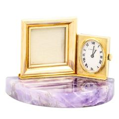 Cartier Amethyst Gold Clock with Picture Frame